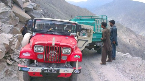 Dangerous crossing on the death road to Fairy Meadows